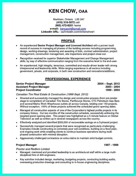 Canadian Resume Samples Pdf by Perfect Construction Manager Resume To Get Approved