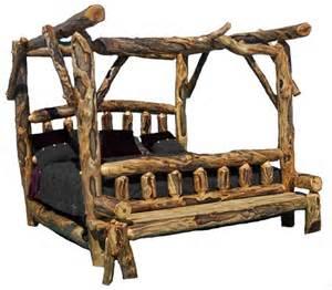 Log canopy bed cabin furniture massive logs custom made