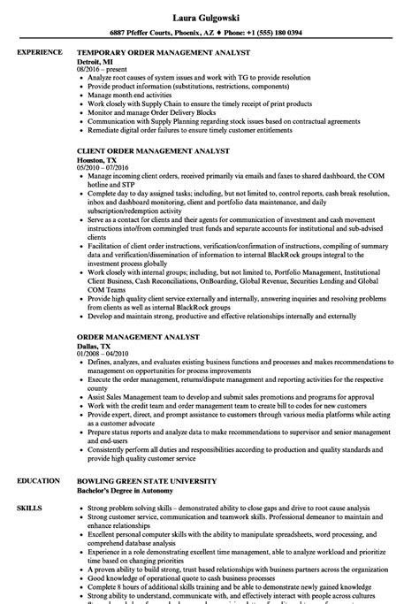 Order Management Resume Sample by Data Analyst Job Description Resume Quotes For Customer