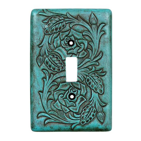 Turquoise Leather by Turquoise Tooled Leather Single Switch Plate