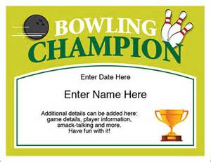 bowling certificate template free bowling chion certificate free award certificates