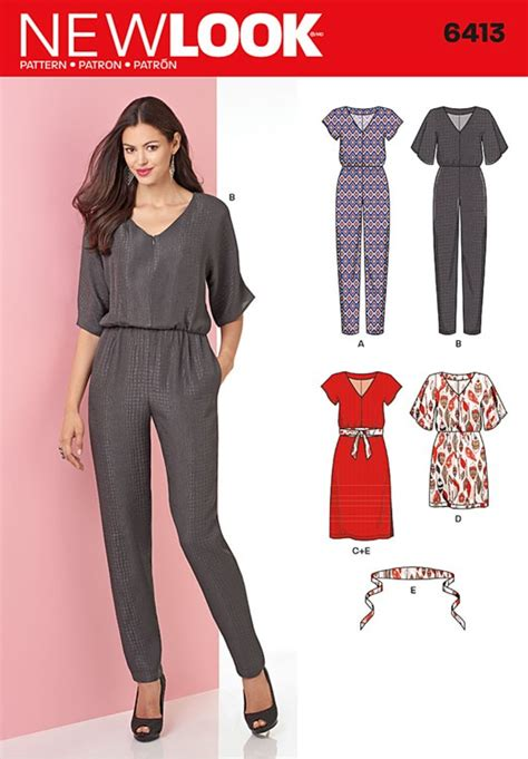 sewing pattern jumpsuit uk misses jumpsuit and dress in two lengths new look sewing