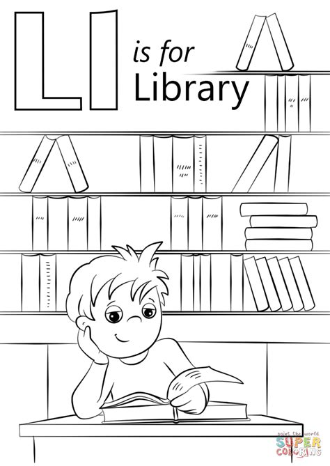 coloring pages library letter l is for library coloring page free printable