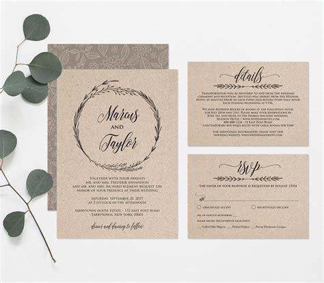 wedding invitation pdf file printable wedding invitation template rustic wreath