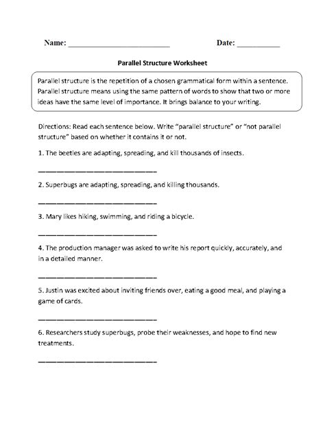 Parallel Structure Worksheet With Answers by Parallel Structure Worksheet Lesupercoin Printables