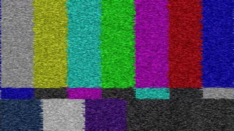 color noise pattern loopable old analog crt tv screen shows smpte color bars