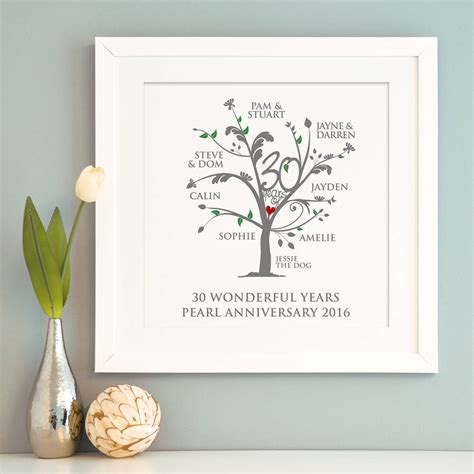 Wedding Anniversary Gifts Pearl by Personalised Pearl Anniversary Family Tree Print By A Type