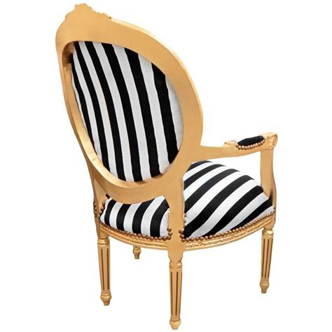 black and white striped recliner baroque armchair louis xvi black and white striped and