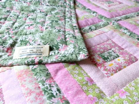 Handmade Artists Shop - quilted log cabin or baby quilt in pinks and