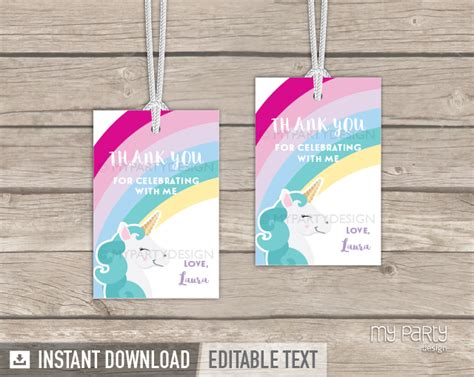 printable unicorn thank you tags unicorn party printable thank you tags my party design