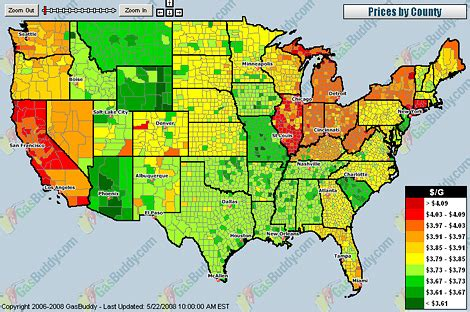 map of us gas prices gas prices map of usa