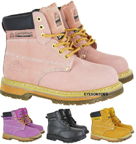 pink steel toe boots work pink leather safety steel toe cap trainer