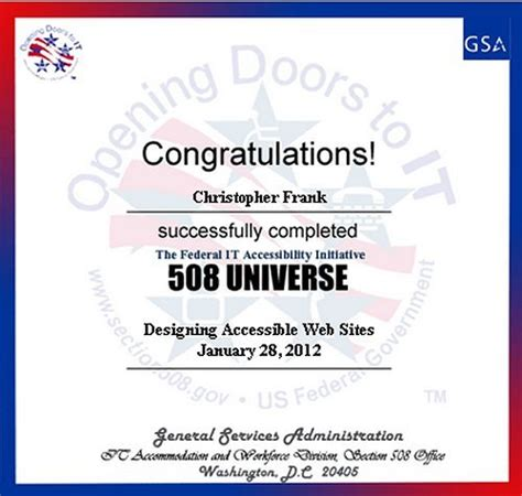 section 508 training certificates section 508 compliant document conversion