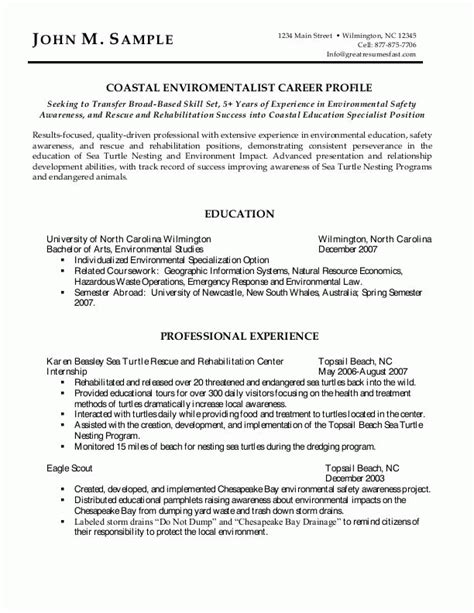 Resume Exles For Environmental Sle Resumes Environmental Safety Resume
