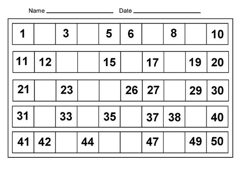 Printable Worksheets For Numbers 1 50 | 1 50 number charts to print activity shelter