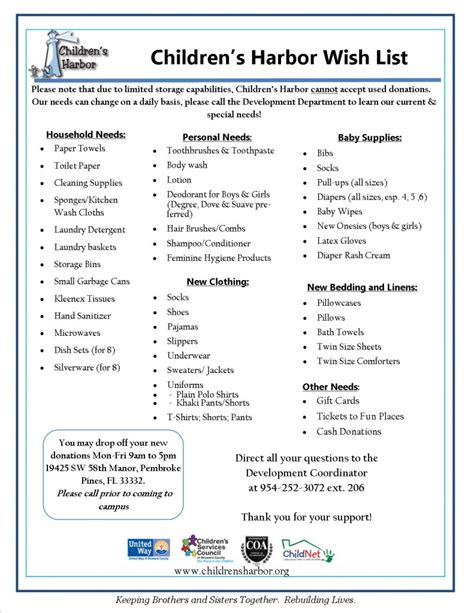 How To Find Other S Wish List Other Ways To Help Children S Harbor Keeping Siblings Together Rebuilding Lives