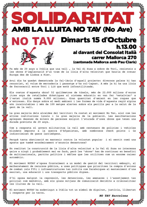 consolato italiano a barcellona barcellona no tav martedi 15 ottobre ore 13 00 consolato