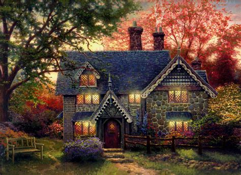 kinkade cottage kinkade gingerbread cottage painting