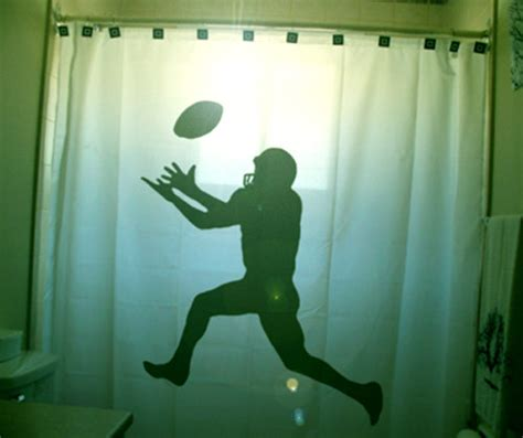 Football Shower Curtain Player Bathroom Decor For Kids