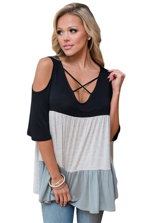 V Neck Shoulder Top us 6 21 black color block criss cross v neck cold shoulder top dropshipping