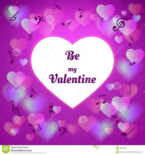 purple valentines day card with hearts stock image image