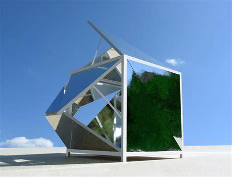 aufklappbarer pavillon michael jantzen conceives fragmented folding mirrors pavilion