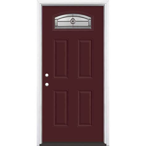 Prehung Fiberglass Exterior Doors Shop Masonite Decorative Glass Right Inswing Currant Painted Fiberglass Prehung Entry Door