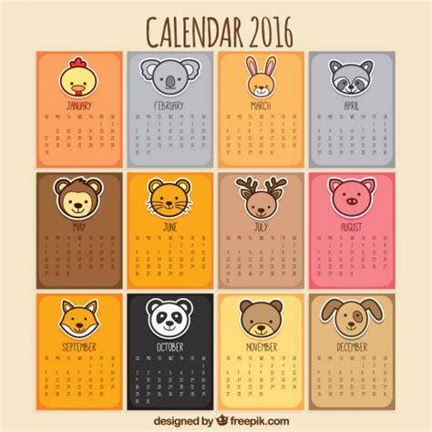 Calendario Animales Calendario Animal Descargar Vectores Gratis