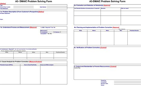 best photos of a3 dmaic template a3 lean problem solving