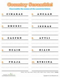 country word scramble worksheet education com
