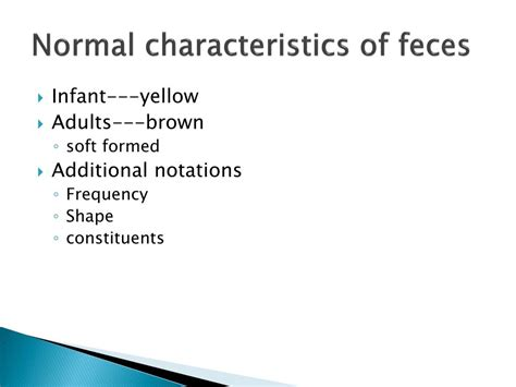 Normal Characteristics Of Stool by Ppt Unit 10 Elimination Powerpoint Presentation Id 298664