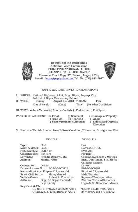 sle of blotter report in the philippines investigation report