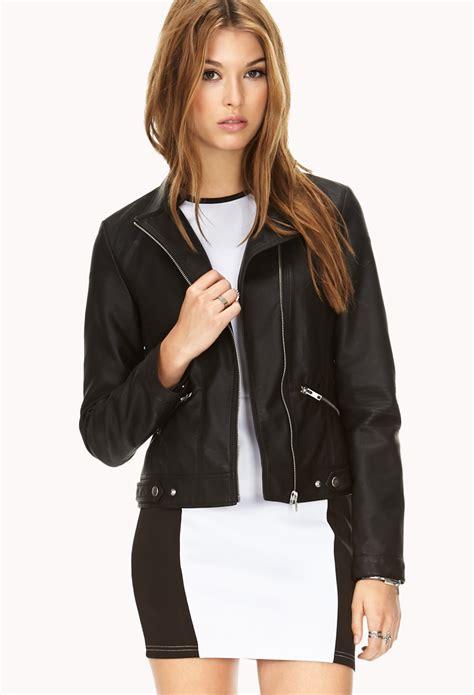 Forever 21 Black White Jacket Zipper T3010 1 lyst forever 21 sleek faux leather jacket in black