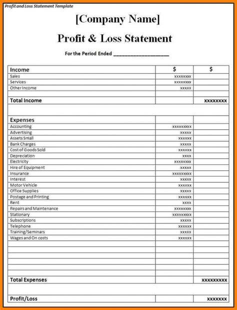 Blank Profit And Loss Statement Pdf Template Business Personal P L Statement Template