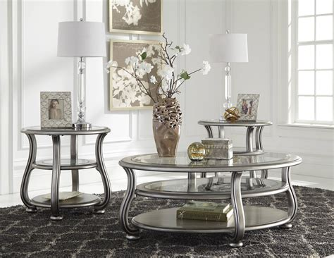 glass coffee and end table sets furniture coralayne 3pc coffee table set the