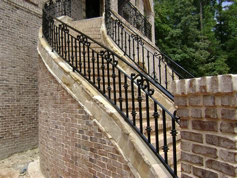 stairs outstanding outside handrails steel railing