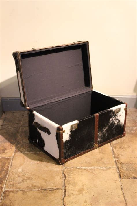 bespoke cowhide trunk coffee table leather trunks