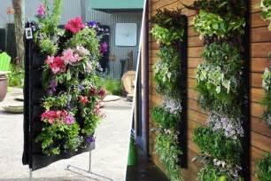 image of fabric vertical vegetable gardening ideas flower