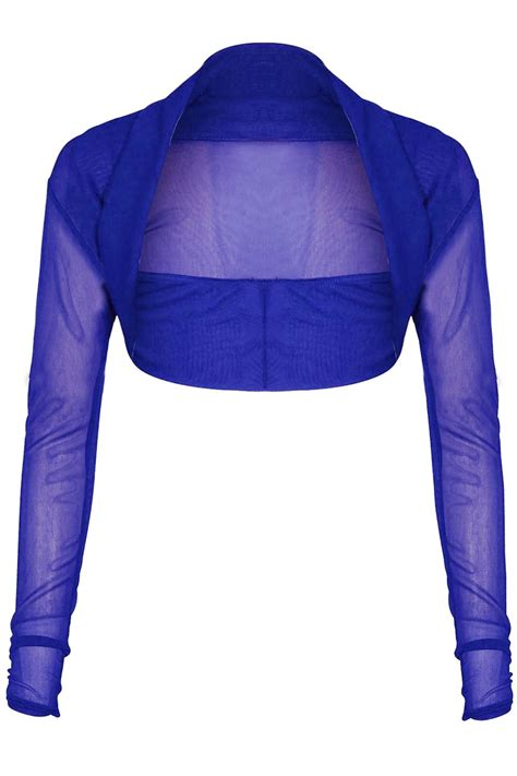 Blouse Bolero 2 In 1 4 womens chiffon sleeves crop top sheer mesh