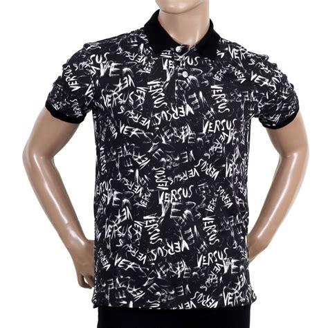 Printed Sleeve Polo Shirt mens cotton black graffiti printed versace polo shirt