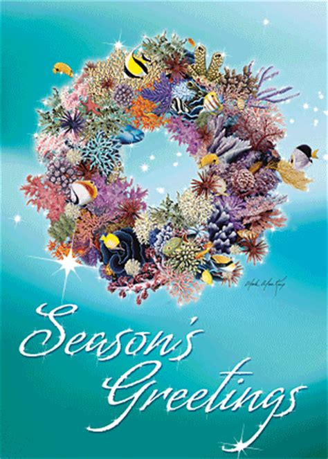 hawaiian holiday christmas greeting card coral wreath