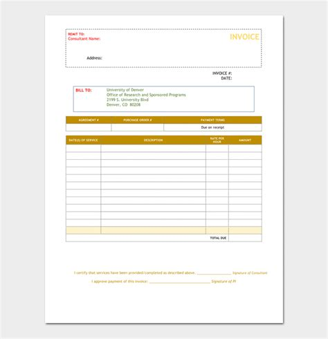 Consultant Invoice Template For Word Excel Pdf Microsoft Word Consulting Invoice Template