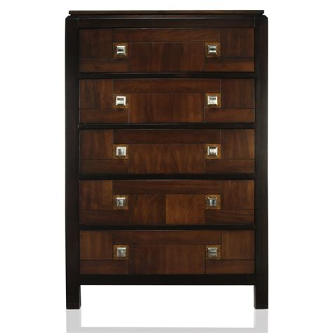 furniture of america two tone miktos acacia 5 drawer chest