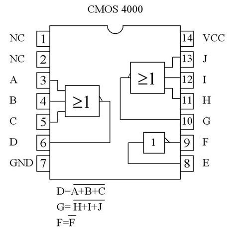 list of 4000 integrated circuits electronics component pinout diagrams 4000 series cmos ics