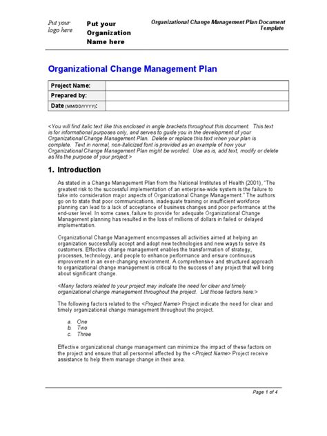 organization change management plan template change