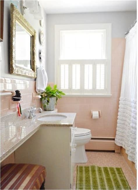 pink tile bathroom decorating ideas original pink tile with new granite countertop what to