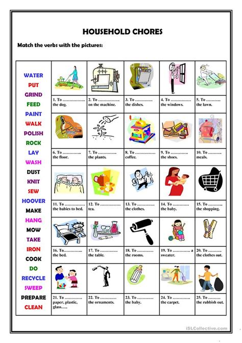 house chores 50 000 free esl efl worksheets made by teachers for teachers