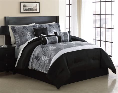 black and gray comforters 7 piece queen kellen black and gray jacquard comforter set