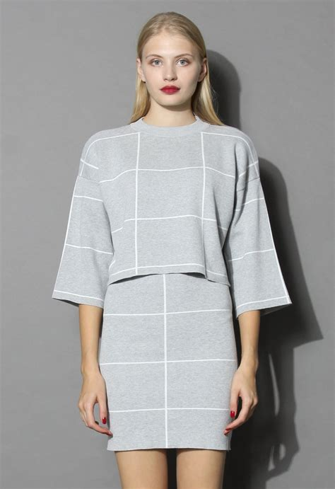 knitted crop top and skirt grid print knitted crop top and skirt set in grey retro
