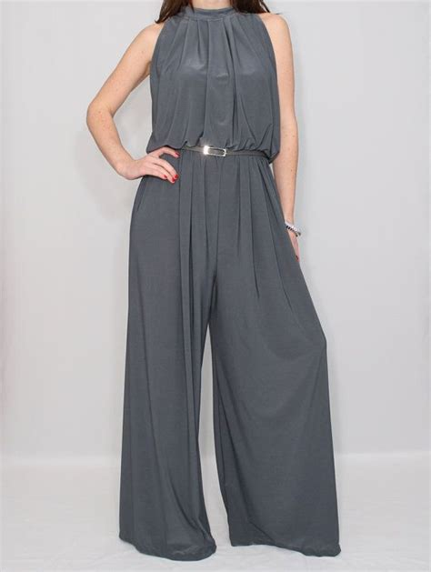 plazo for woman wide leg jumpsuit palazzo pants in gray for women by